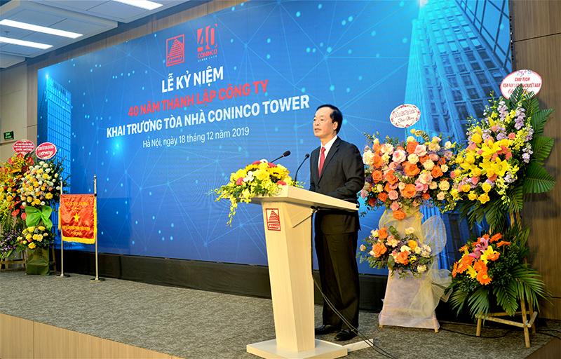 Ủy viên TW Đảng, Bộ trưởng Bộ Xây dựng Phạm Hồng Hà phát biểu chúc mừng và chỉ đạo tại buổi lễ