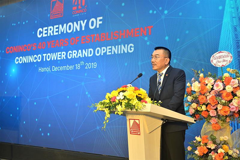 Ông Nguyễn Văn Công – Chủ tịch HĐQT CONINCO phát biểu cảm ơn tại buổi lễ