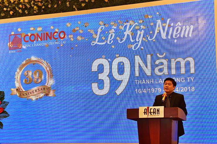 TS. Hà Minh - Tổng Giám đốc CONINCO phát biểu tại Lễ kỷ niệm