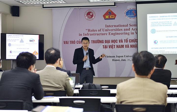 TS. Dương Trọng Vĩnh – Giám đốc Trung tâm Hợp tác và Tư vấn quốc tế (CONINCO) trình bày tham luận tại Hội thảo