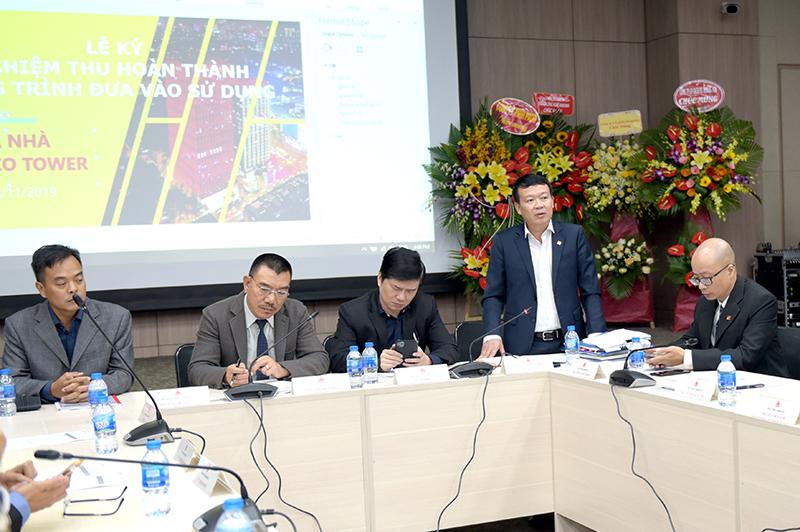 Ông Nguyễn Mạnh Tuấn – Phó Tổng Giám đốc Công ty, Giám đốc BQLDA báo cáo công tác nghiệm thu cơ sở