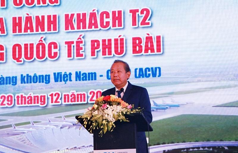 Ủy viên Bộ Chính trị, Phó Thủ tướng Thường trực Chính phủ Trương Hòa Bình phát biểu chỉ đạo tại lễ khởi công