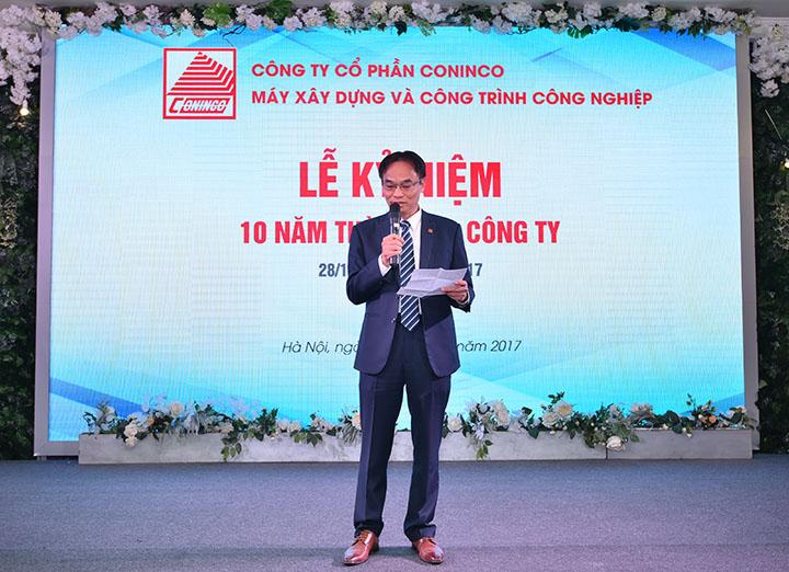 Ông Cao Minh Tuấn – Chủ tịch HĐQT kiêm Tổng Giám đốc CONINCO - MI phát biểu tại buổi lễ