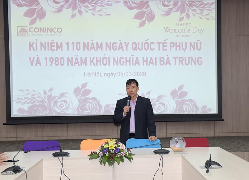 Đ/c Nguyễn Huy Quang - Chủ tịch Công đoàn chia sẻ tại buổi mít tinh