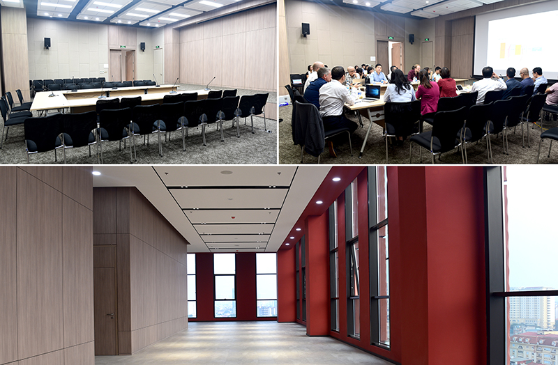 Hành lang hội trường tầng 11 và hệ thống hội trường hoàn thiện đưa vào sử dụng